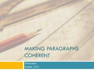 Making Paragraphs Coherent