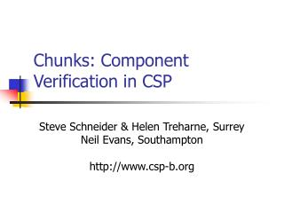 Chunks: Component Verification in CSP