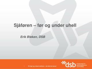 Sjåføren  –  før og  under  uhell Erik  Bleken , DSB