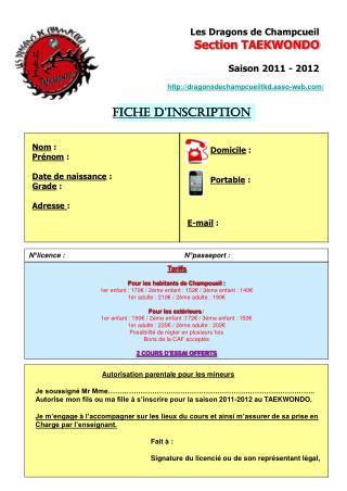 Les Dragons de Champcueil Section TAEKWONDO Saison 2011 - 2012