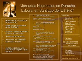 """""""Jornadas Nacionales en Derecho Laboral en Santiago del  Estero """""""