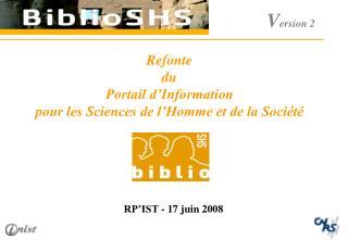Refonte  du Portail d'Information  pour les Sciences de l'Homme et de la Société