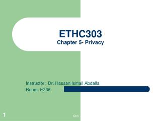 ETHC303 Chapter 5- Privacy