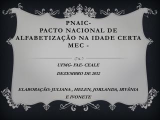 PNAIC-  PACTO NACIONAL  DE ALFABETIZAÇÃO NA IDADE CERTA MEC -