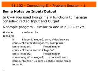 91.102 - Computing II - Problem Session - 1.