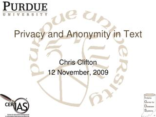 Privacy and Anonymity in Text