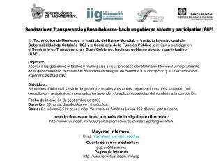 Seminario en Transparencia y Buen Gobierno: hacia un gobierno abierto y participativo (GAP)