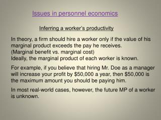 Inferring a worker's productivity