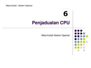 Penjadualan CPU