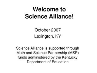 Welcome to Science Alliance