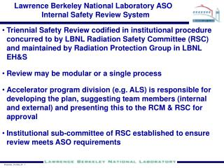 Lawrence Berkeley National Laboratory ASO Internal Safety Review System