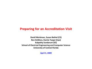 Preparing for an Accreditation Visit