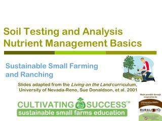 Soil Testing and Analysis Nutrient Management Basics