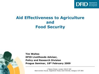 Aid Effectiveness to Agriculture and  Food Security