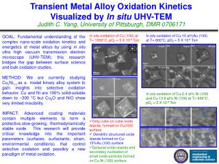 Transient Metal Alloy Oxidation Kinetics  Visualized by  In situ  UHV-TEM