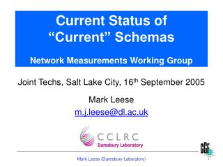 "Current Status of ""Current"" Schemas Network Measurements Working Group"