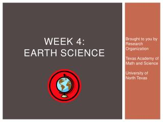 WEEK 4:  Earth science