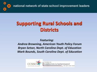 Supporting Rural Schools and Districts