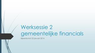 Werksessie 2 gemeentelijke financials