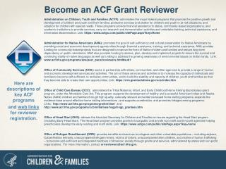 Become an ACF Grant Reviewer