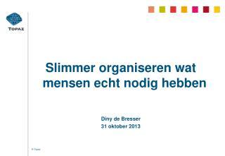 Slimmer organiseren wat mensen echt nodig hebben Diny de Bresser  31 oktober 2013