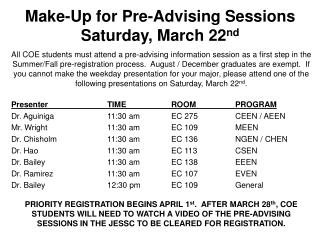 Make-Up for  Pre-Advising Sessions Saturday, March  22 nd