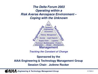 Sponsored by the AIAA Engineering & Technology Management Group Session Chair:  JoAnne Rocker