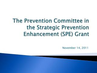 The Prevention Committee in the Strategic Prevention Enhancement (SPE) Grant