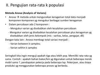 II .  Pengujian  rata-rata k  populasi