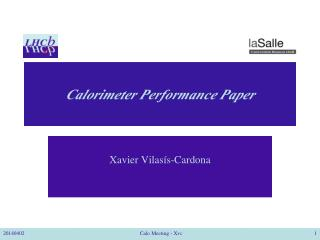 Calorimeter Performance Paper