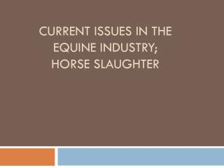 Current Issues in the equine Industry; Horse Slaughter
