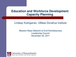 Education and Workforce Development Capacity Planning
