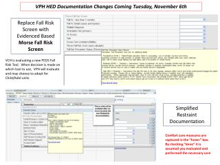 VPH HED  Documentation Changes Coming Tuesday, November 6th