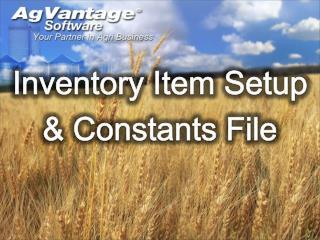Inventory Item Setup  & Constants File