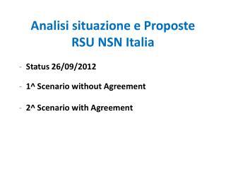 Analisi situazione e Proposte RSU NSN Italia