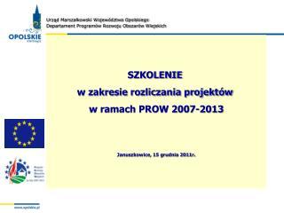 SZKOLENIE  w zakresie rozliczania projektów  w ramach PROW 2007-2013
