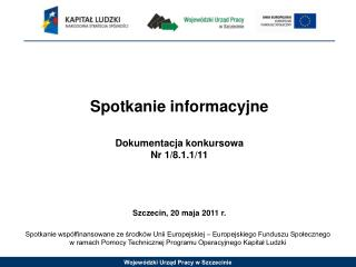 Spotkanie informacyjne Dokumentacja konkursowa Nr  1/8.1.1/11 Szczecin,  20 maja  2011 r.
