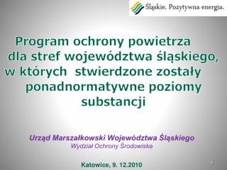 Program ochrony powietrza dla stref województwa śląskiego,