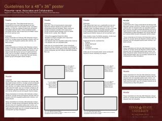 """Guidelines for a 48 """" x 36 """"  poster"""