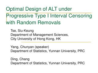 Optimal Design of ALT under Progressive Type I Interval Censoring with Random Removals