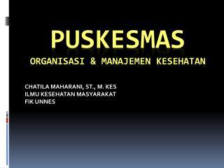 PUSKESMAS Organisasi  &  manajemen Kesehatan