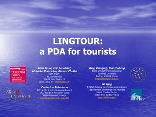 LINGTOUR: a PDA for  tourists