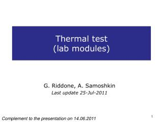 Thermal test (lab modules)