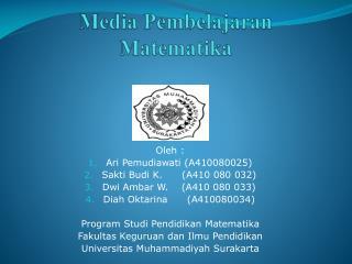 Ppt Pembelajaran Matematika Di Sd Powerpoint Presentation Id 5368427