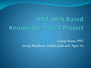 PNT Web Based Knowledge Portal Project