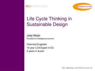 Life Cycle Thinking in Sustainable Design