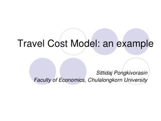 Travel Cost Model: an example