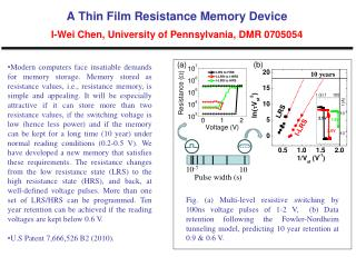 A Thin Film Resistance Memory Device I-Wei  Chen, University of Pennsylvania, DMR 0705054
