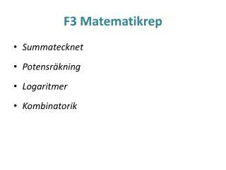 F3 Matematikrep