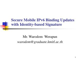 Secure Mobile IPv6 Binding Updates with Identity-based Signature